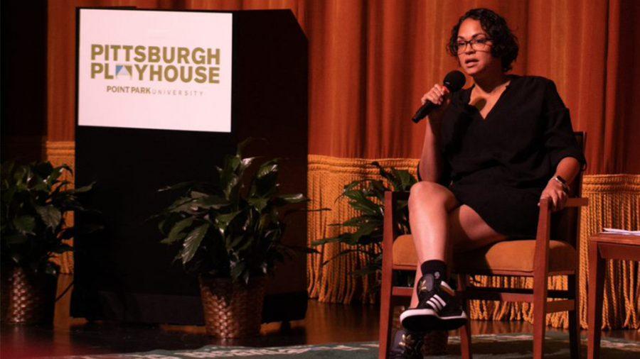 Karen Olivo speaks at the Pittsburgh Playhouse.