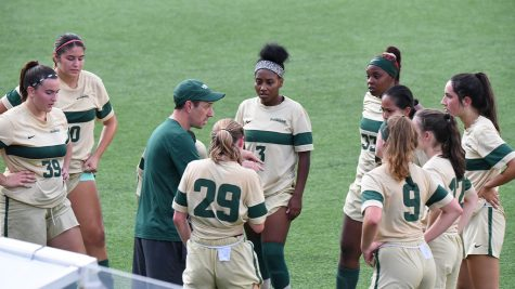 Women's soccer head coach John Newbery coaching the team during a recent game. (Photo courtesy of  Point Park Athletics)